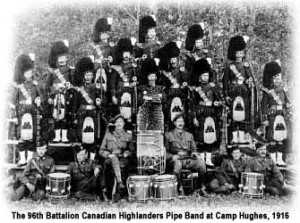 The original Canadian 96th Highlanders band in 1916