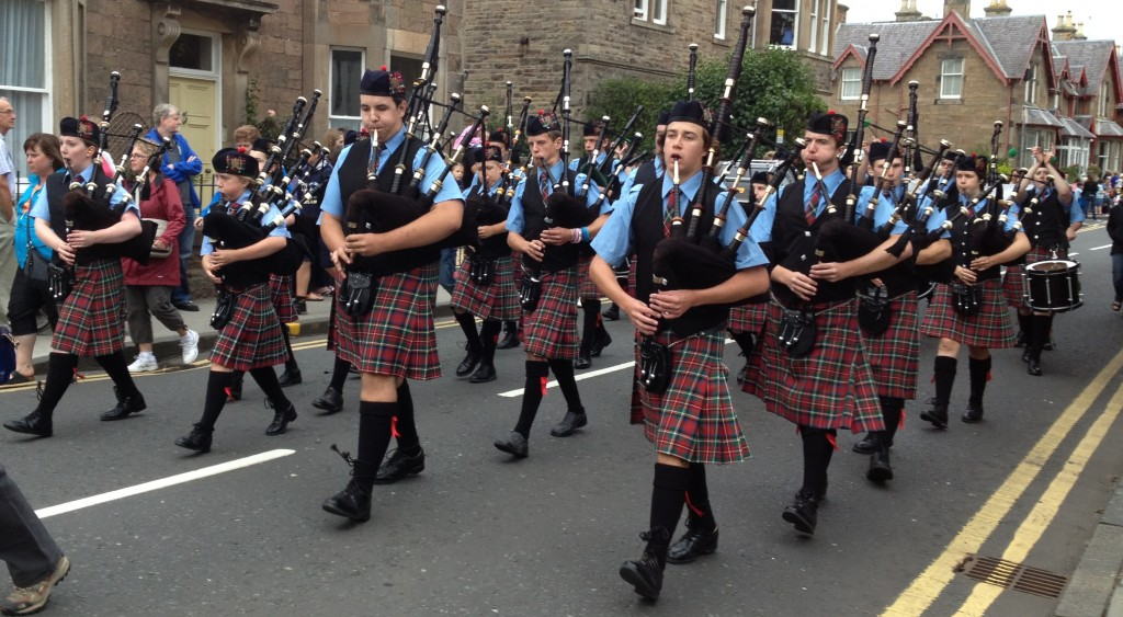 Band marching in the North Berwick parade, Scotland, 2013. This is the second trip to North Berwick for the band.
